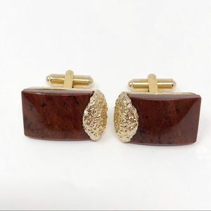 Vintage Natural Brown Stone Cufflinks Gold Nugget
